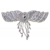 Motif Beaded 26cmx17cm Wing with fringe Silver Aurora Borealis
